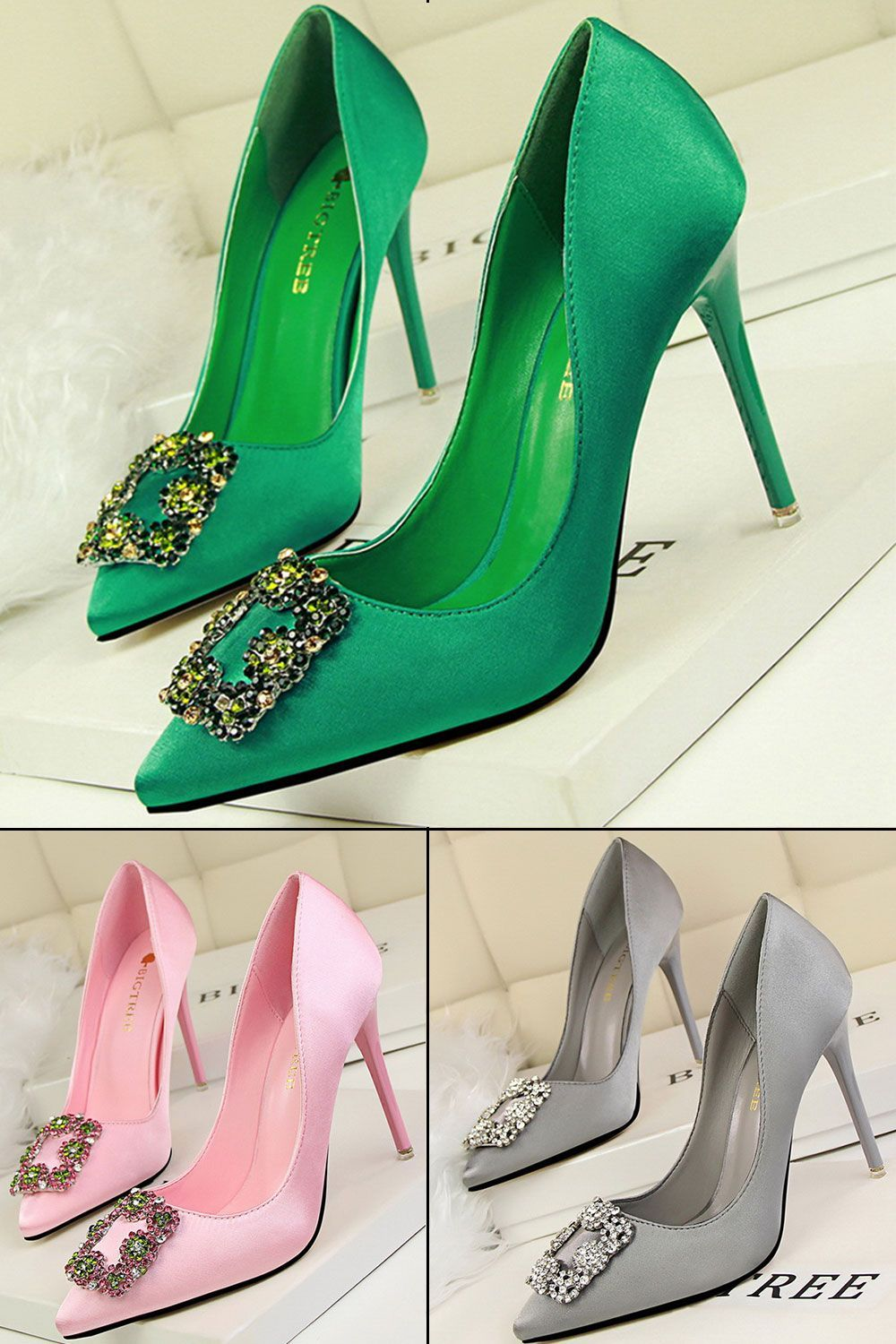 effa774abbe ... and more on Heels shoes by Shoespie. Rhinestone Pointed Toe Banquet Heel😍  😍