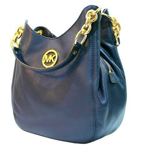 d47387bd4123 Michael Kors Medium Pebbled Leather Tote Shoulder Bag Fulton Chain Navy Blue  #MichaelKors #ShoulderBag