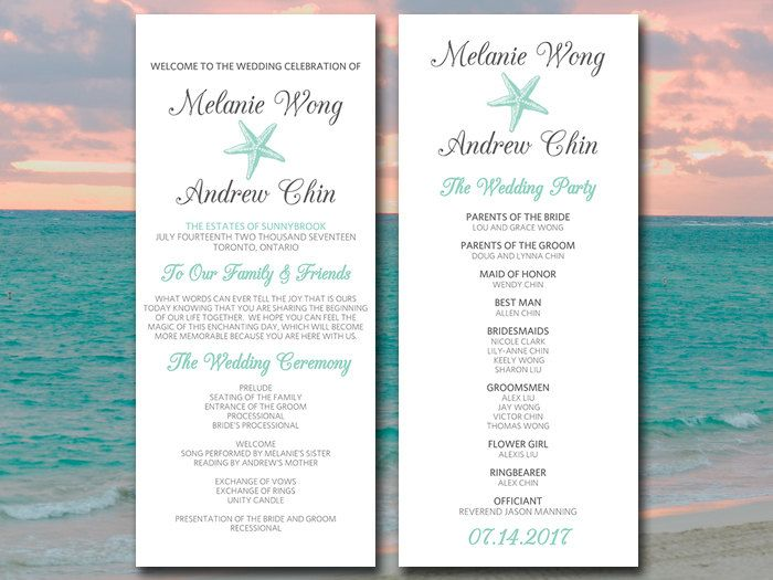 Beach Wedding Program Template Starfish Wedding Program Sea Star