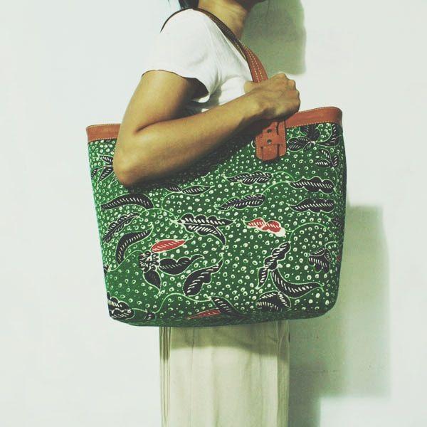 Anjani Green Floral Madura Tote     #djokdjabatik