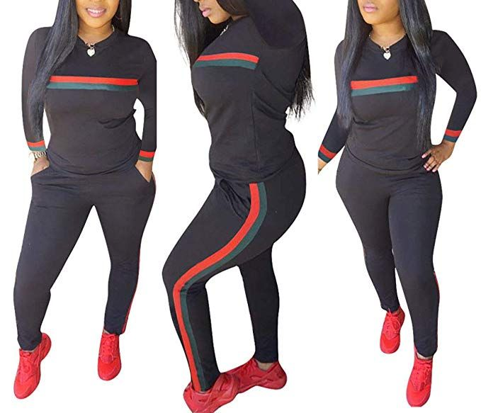 bb79d6f0c0d6 DingAng Women 2 Pieces Outfits Long Sleeve Top and Long Pants Sweatsuits  Set Tracksuits at Amazon Women's Clothing store: