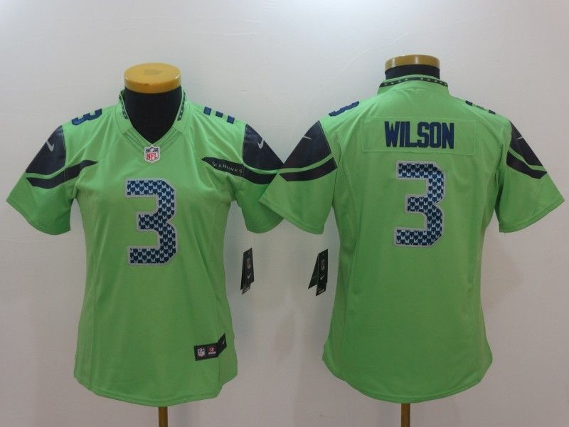 Womens Seattle Seahawks 3 Russell Wilson Green Color Rush Limited Jersey e19cf6141