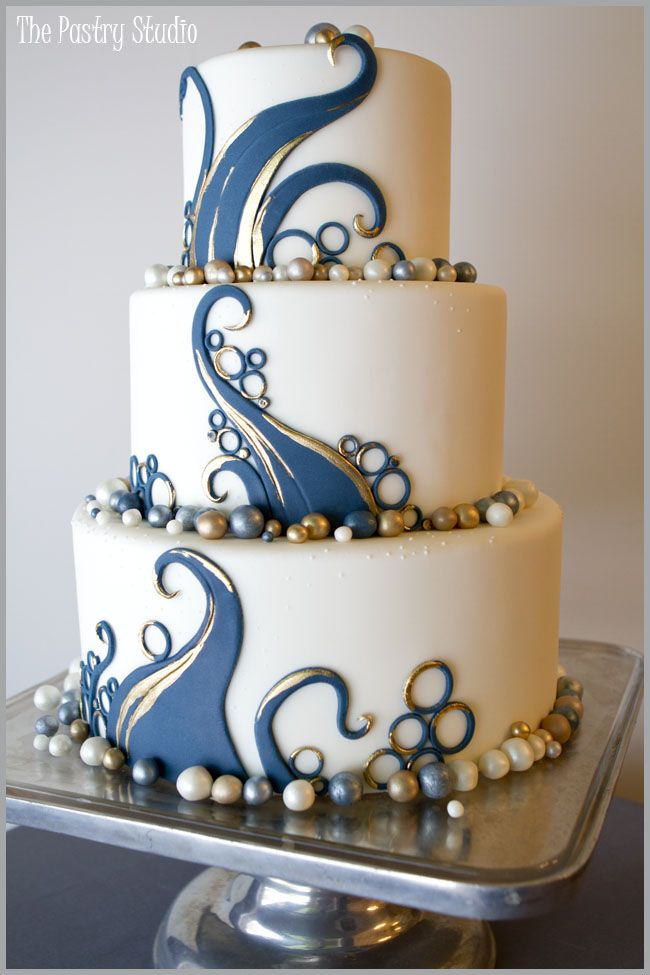 Cake Art - a navy and gold themed wedding cake