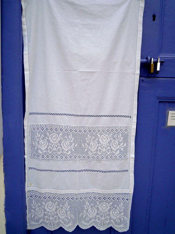 Handmade curtain with atrante and lace designs- Greek handiwork ...