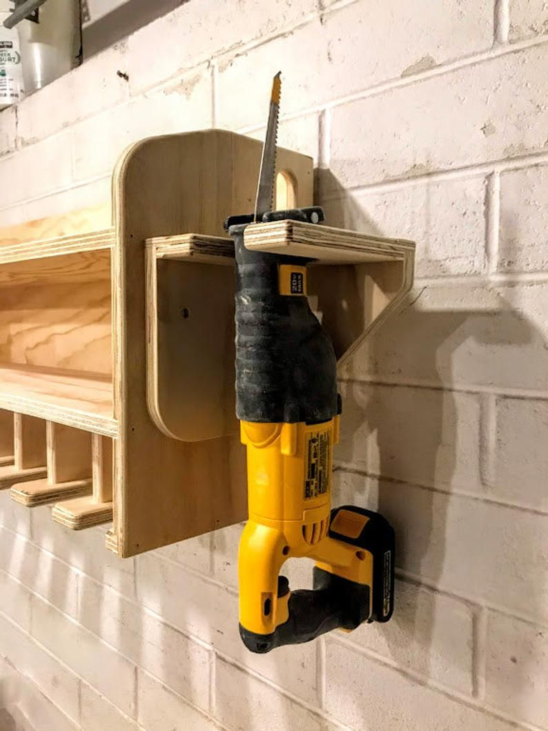 Cnc Made Cordless Drill Organizer Wall Mounted Cordless Tool Etsy In 2020 Power Tool Storage Garage Tool Storage Tool Storage
