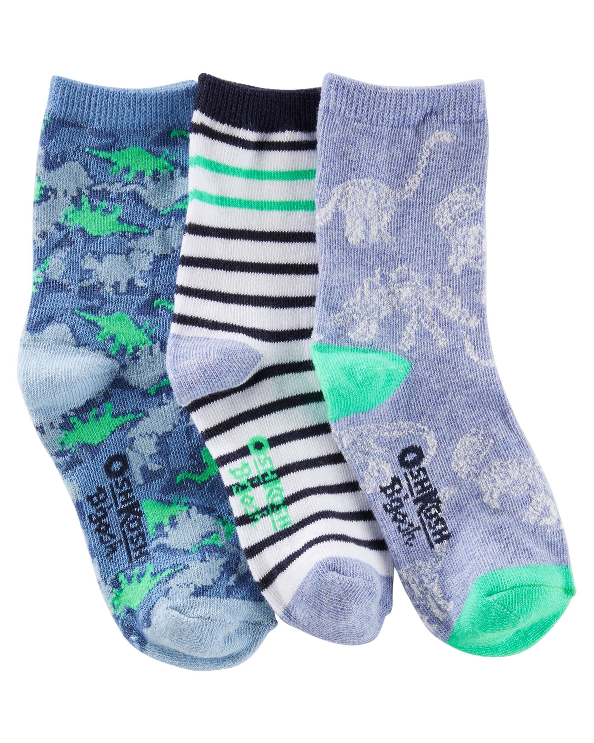 Baby Boy 3 Pack Boys Glowing Dino Crew Socks OshKosh