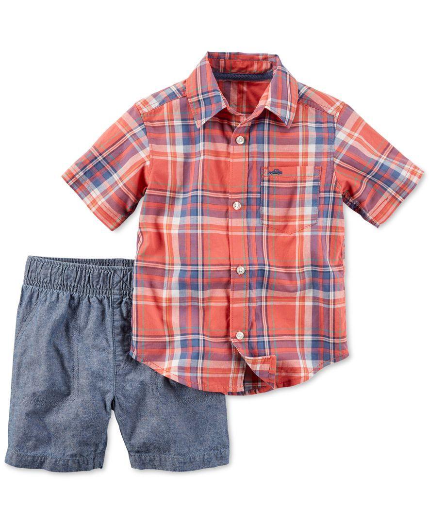 7f8f17aaa Carter's Toddler Boys' 2-Piece Plaid Shirt & Shorts Set | kid ...