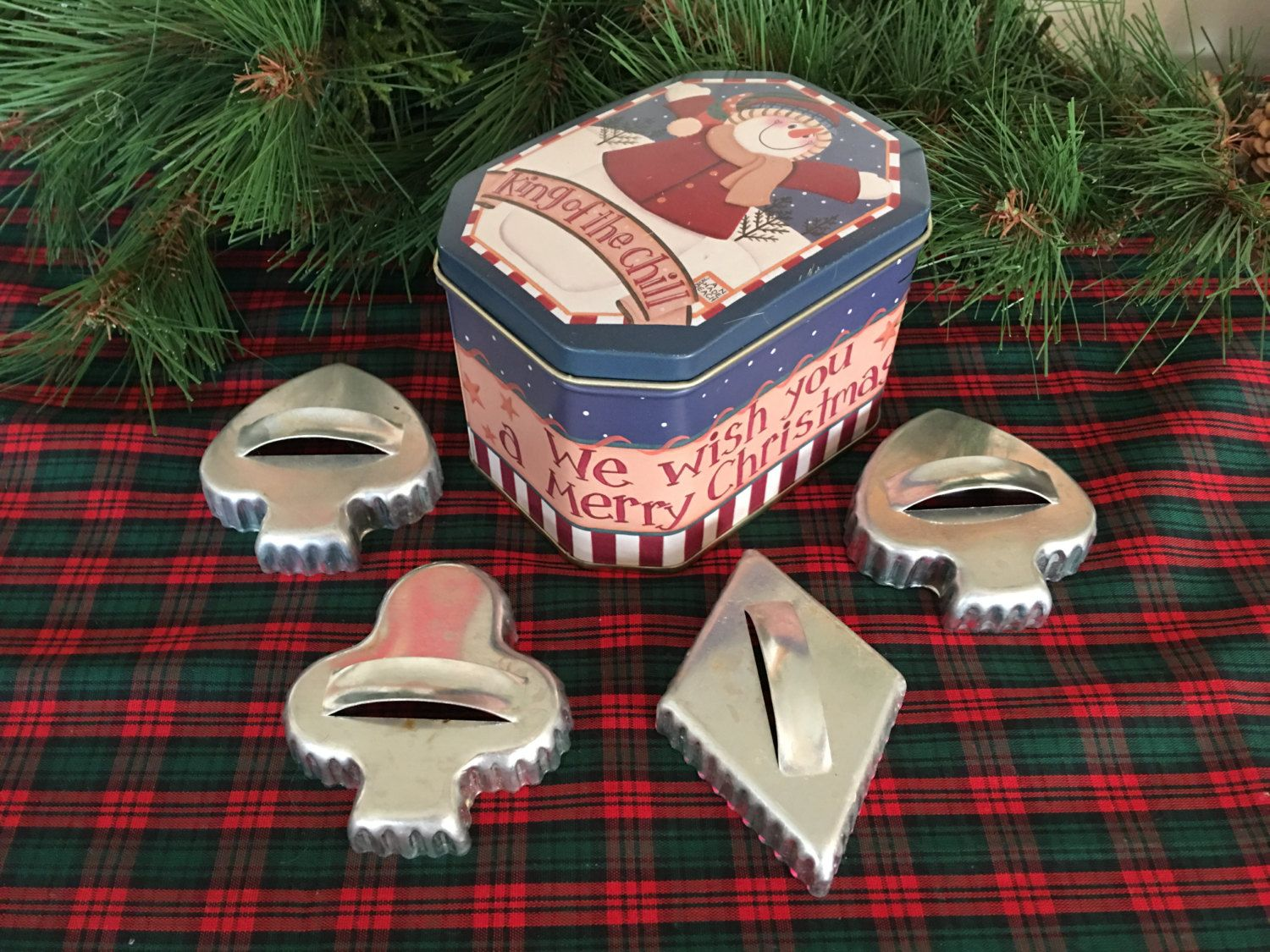 Card Party Cookie Cutters and Tin by JustClickThreeTimes on Etsy