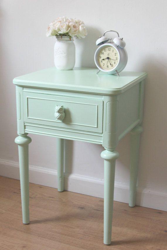 Small Nightstand,Chic Mint Green Nightstand,Hand Painted ...