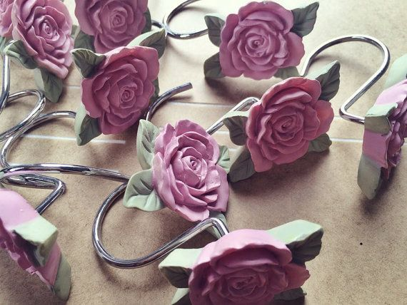 Vintage Pink Rose Shower Curtain Hooks Jewelry Holder Hooks Shabby Chic  Cottage Rustic Decor Folk Victorian
