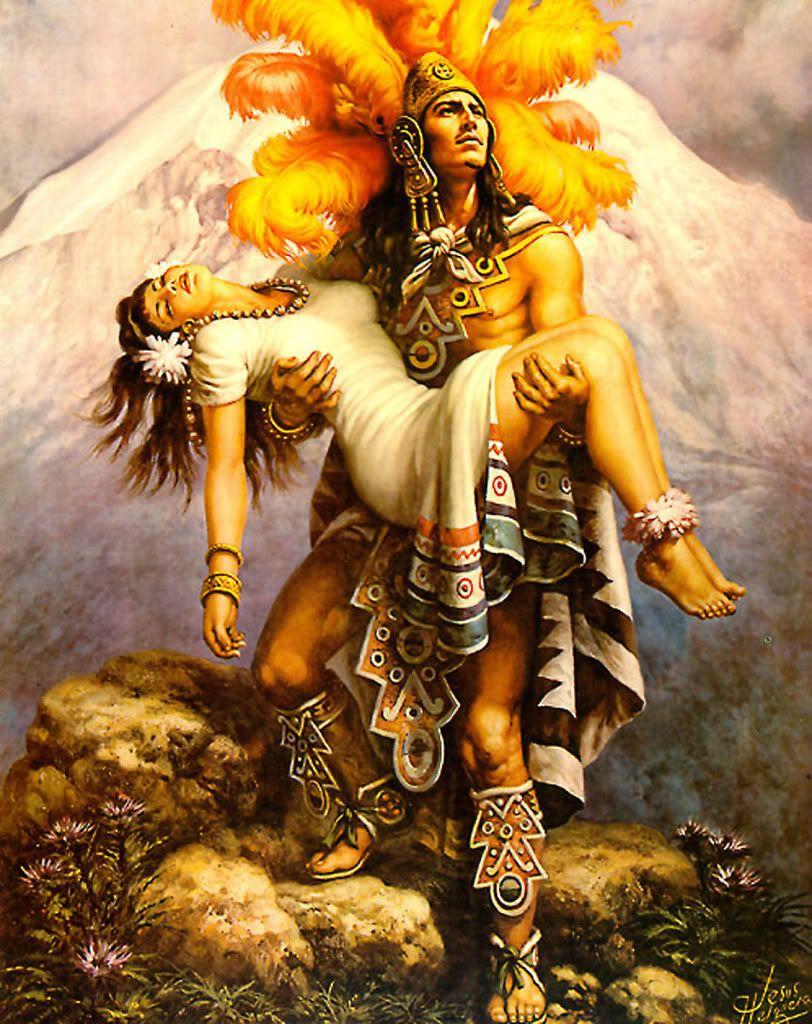 Popocatepetl E Iztaccihuatl By Jesus Helguera Aztec Art Jesus Helguera Mexican Culture