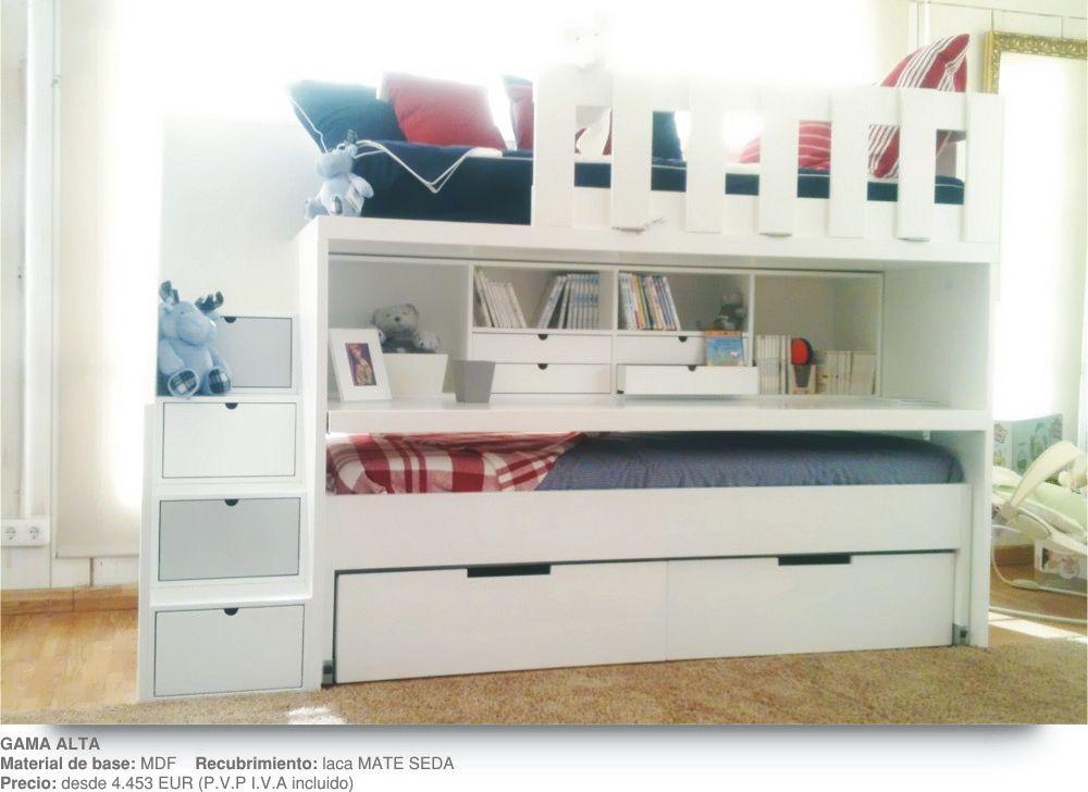 Literas infantiles con escalones escritorio cama movil - Cama litera con escritorio debajo ...