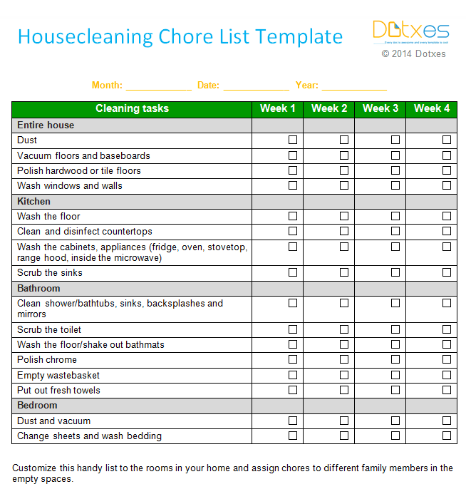 House Cleaning Checklist Template To Help You To Clean Your House