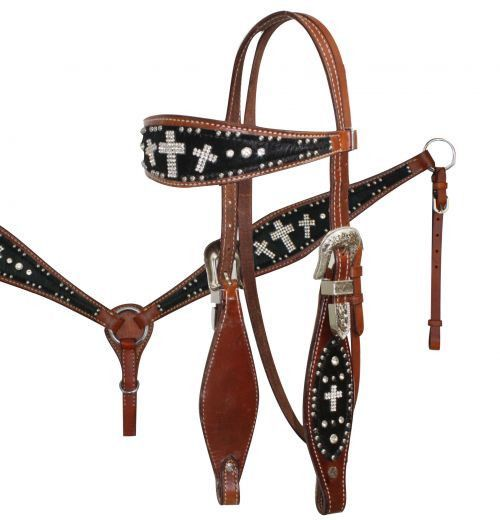 Western Leather Set of Headstall and Breast Collar Black Full size  PNK