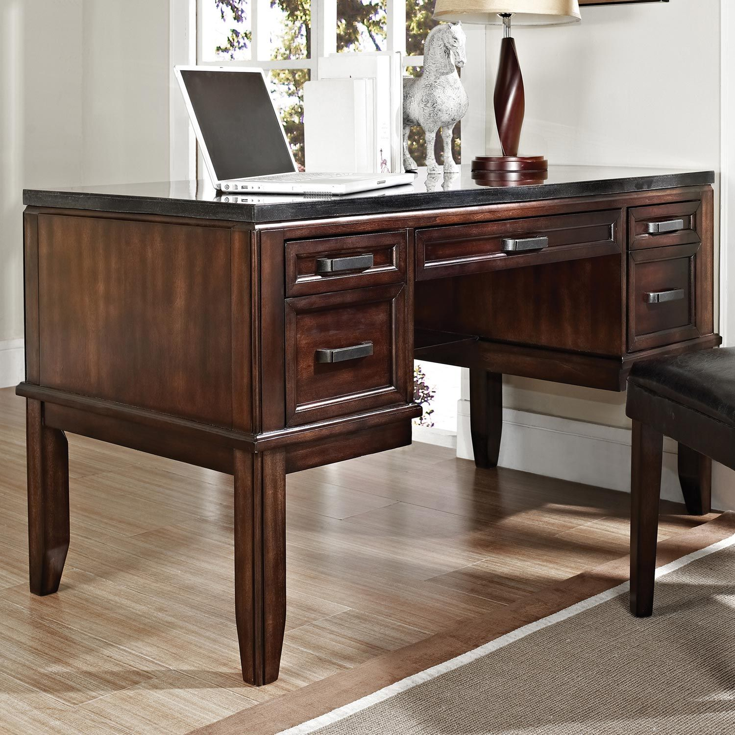 Chamberlain Writing Desk Black Top Dark Cherry Wood Cherry Wood Desk Solid Oak Desk Wood Desk