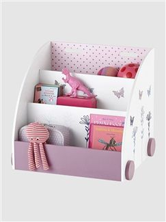 biblioth que roulettes fille motifs fleurs et papillons. Black Bedroom Furniture Sets. Home Design Ideas