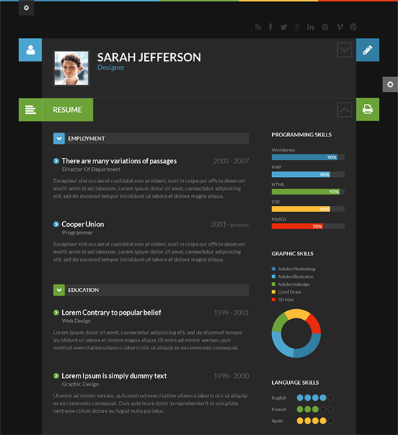 this flat wordpress theme is perfect for online resumes and cvs  and it has a responsive layout