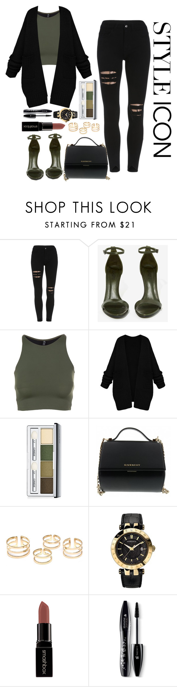 """""""Style Icon #2"""" by kpopmvtrends ❤ liked on Polyvore featuring Schutz, Onzie, Clinique, Givenchy, Versace, Smashbox and Lancôme"""