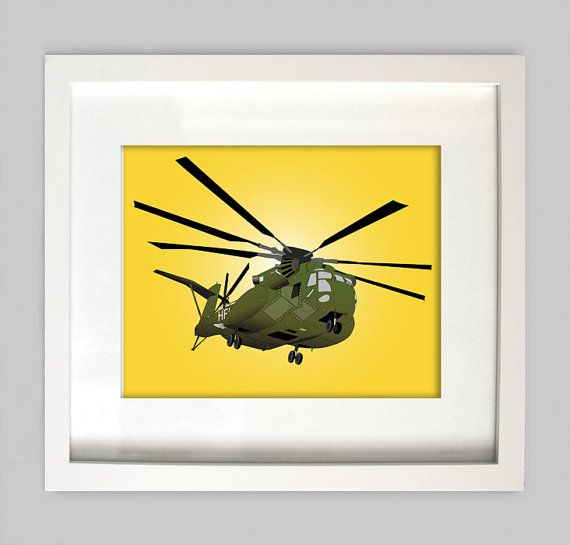8x10 CH-53 Sea Stallion Helicopter, Military Aircraft Illustration ...