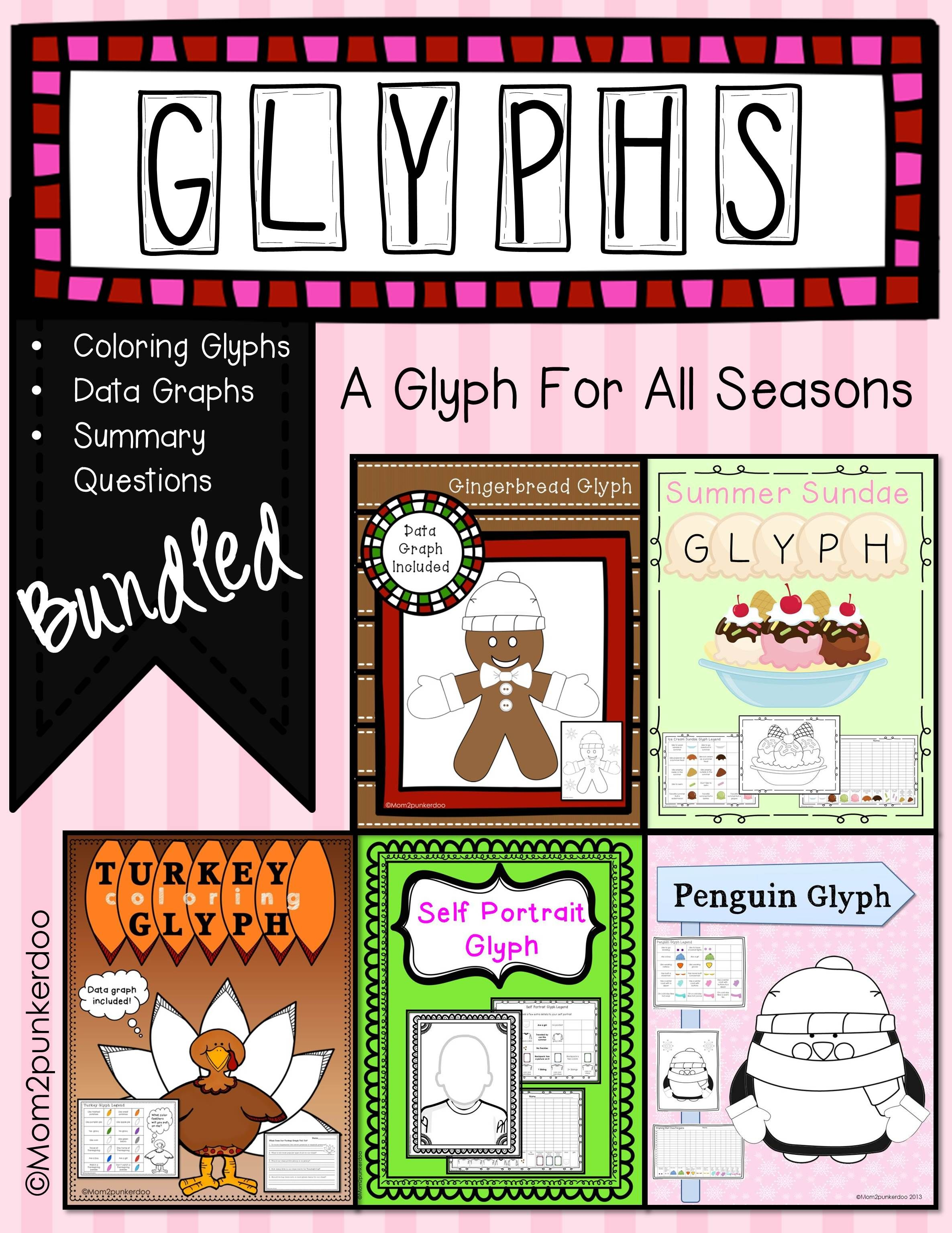 Glyphs Seasons Bundle Gingerbread Turkey Penguin Spring