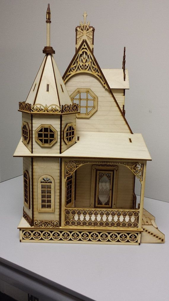 Jasmine gothic victorian cottage dollhouse 1 24 scale for Victorian style kit homes