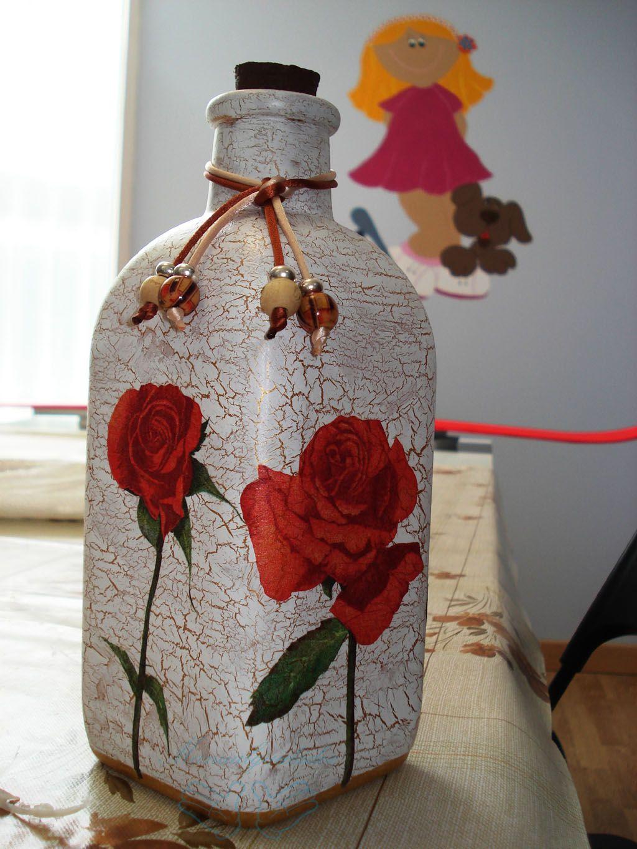Botella decorada con rosas clases de manualidades pinterest decoupage bottle and bottle art - Botellas decoradas navidenas ...