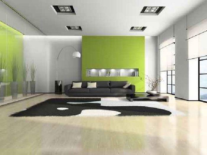 feng shui, pfanzen, teppich in schwarz und weiß, grüne wände - schlafzimmer farben feng shui