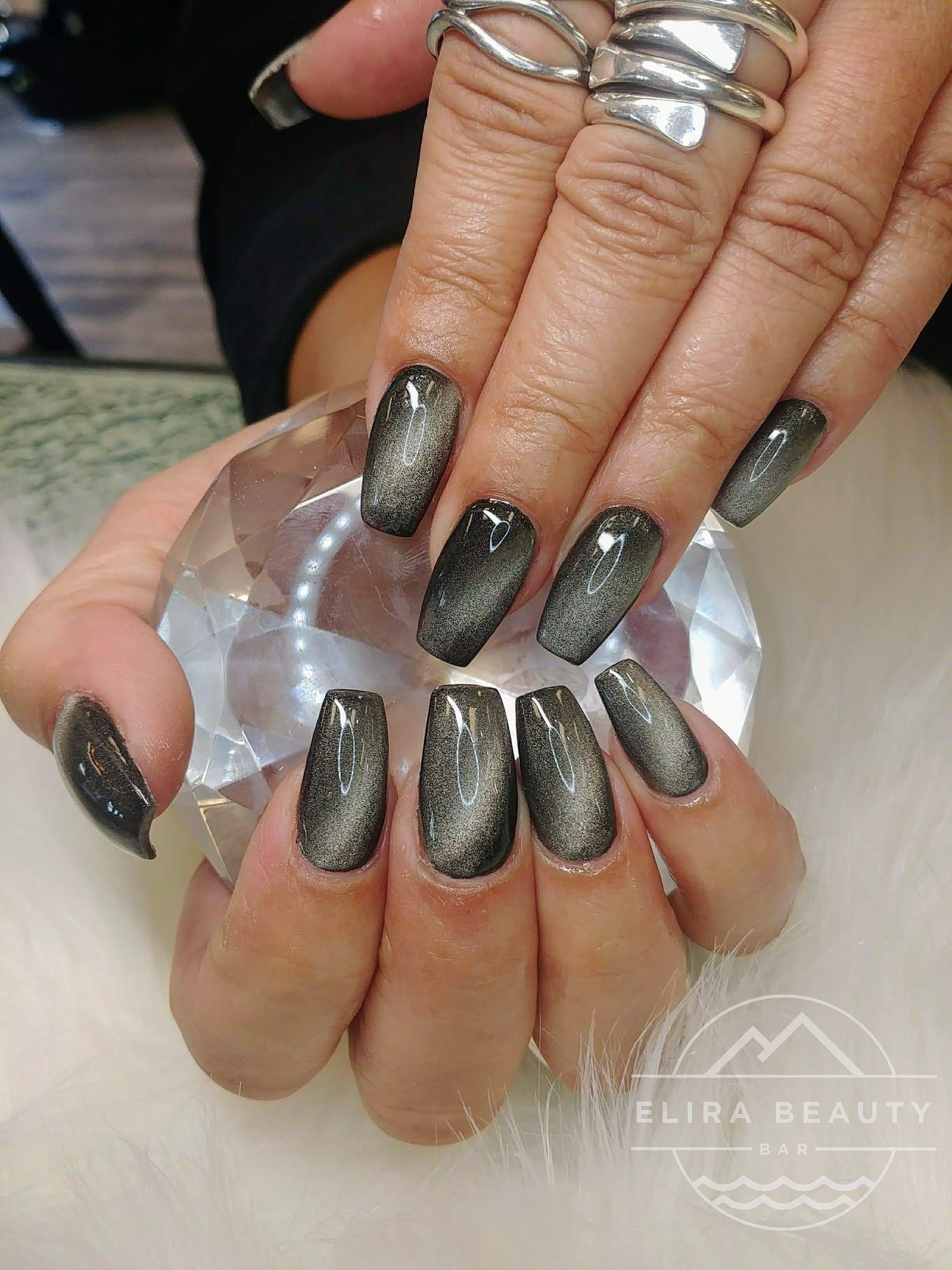 Grey Cat S Eye Nails Cat Eye Nails Polish Fresh Nails Designs Colored Acrylic Nails