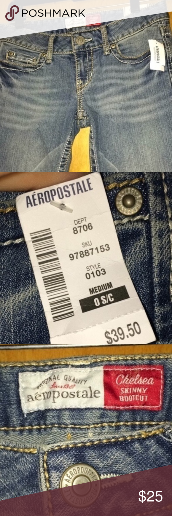 NWT Aeropostale Jeans-size 0! New with tags Aeropostale jeans! Size 0 short! They are Chelsea fit, skinny Bootcut.  No flaws! Originally $39.50!  #nwt #newwithtags #aeropostale #chelseafit #noflaws #bootcut #bootcutjeans #skinnyjeans #noflaws #smokefreeandpetfreehome Aeropostale Jeans Boot Cut