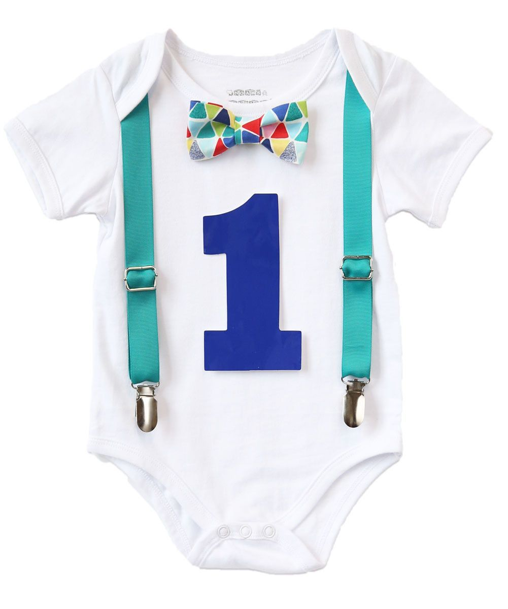 47ff41d9 Teal Blue Red Baby Boy First Birthday Outfit - Birthday Shirt - Cute First  Birthday Outfits for Boys - Bow Tie and Suspenders - I'm One -1st