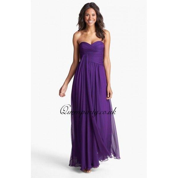 Purple Draped Chiffon Long Bridesmaid Dress | Wedding | Pinterest ...