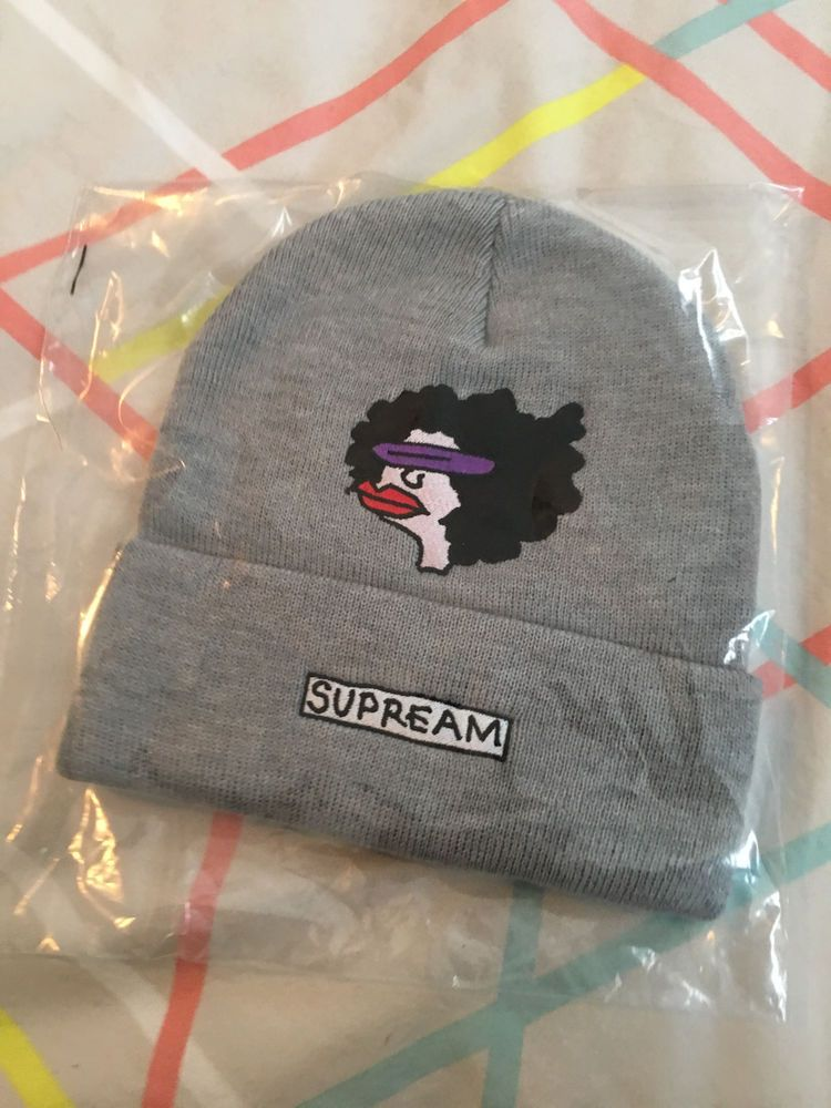 a80a0e9920d 2017 F W Supreme GONZ Ramm Art Print Beanie Grey One Size Brooklyn Box Logo   fashion  clothing  shoes  accessories  mensaccessories  hats (ebay link)