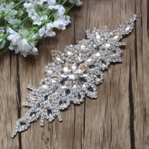 "9.5"" Rhinestone Applique Crystal Silver Patch of Shinning Dress Decorative Trim  Bridal Belt Wedding Dress 787fac71f61e"