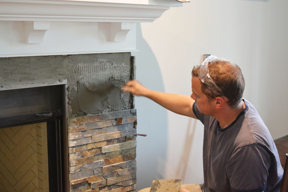 building our fireplace installing the slate split face tile our diy house fireplace. Black Bedroom Furniture Sets. Home Design Ideas