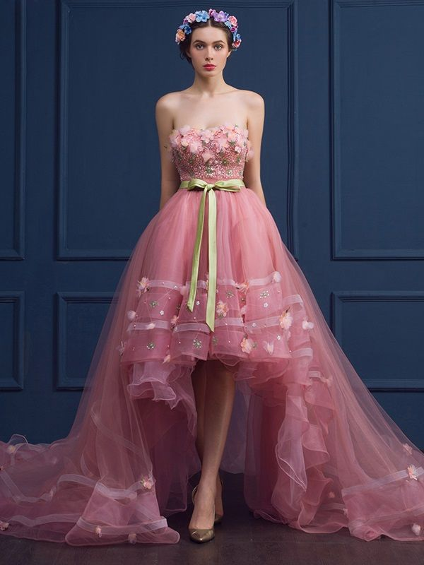 High-Low Sweetheart Ball Gown Flowers Beading Court Train ...