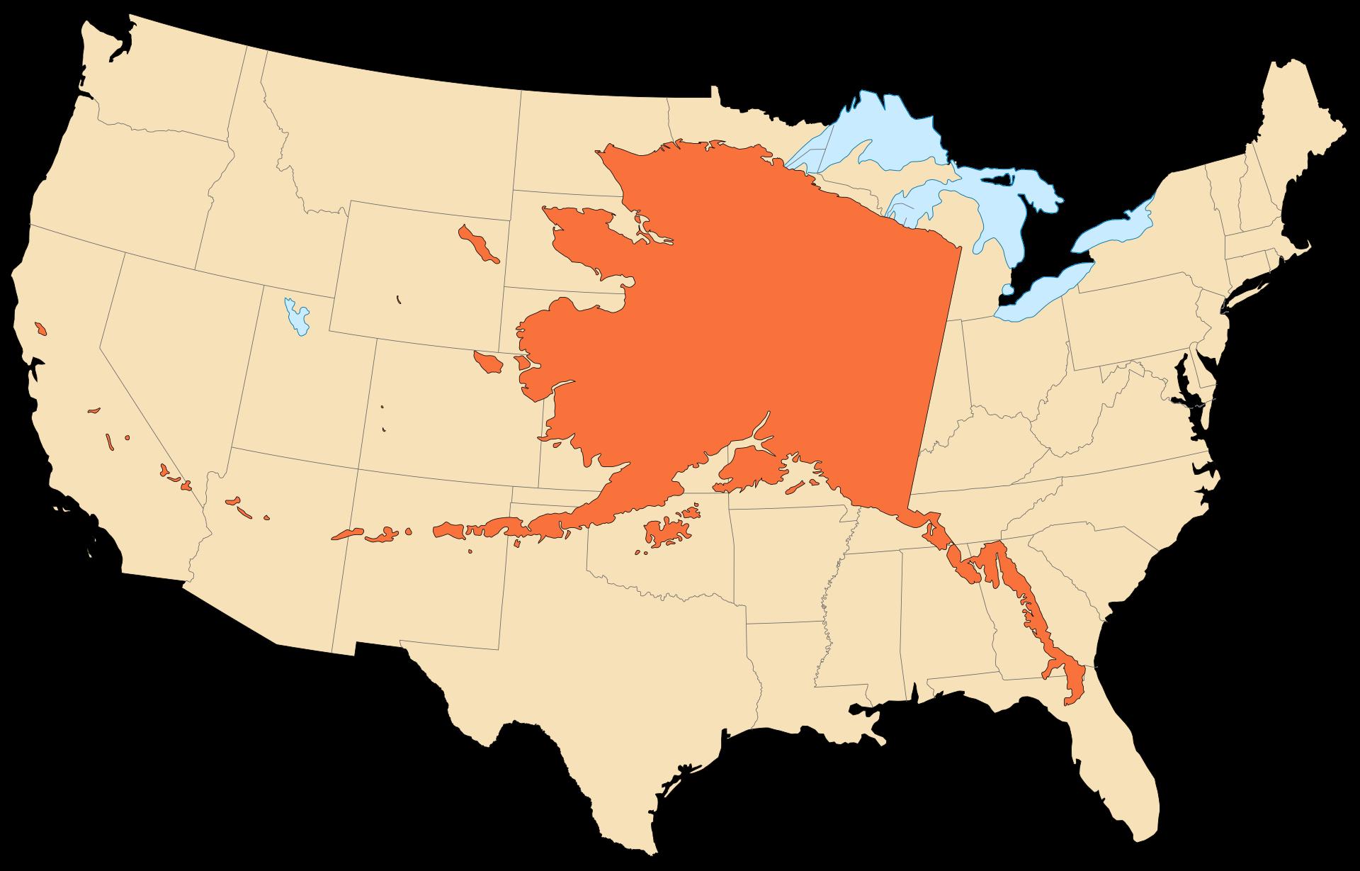 Alaska Overlay On Us Map Alaska superimposed over continental US | World map continents