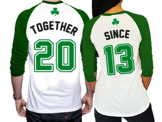 32c5672b9 His and Hers matching St. Patricks Day Raglan Shirts - Together Since  Anniversary Shirts - Couples Anniversary Year Shirts