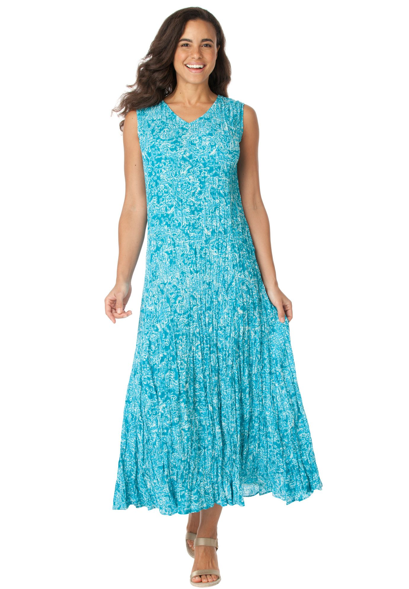 Petite dress in maxi length with V-neck, crinkle texture | Plus Size ...