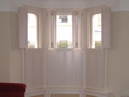 Top opening solid bay window shutters house in 2019 - Unfinished wood shutters interior ...