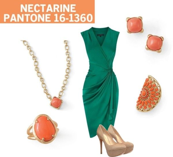 """Lia Sophia jewelry inspired by Pantone Nectarine"" by andrea-nickels-barnett on Polyvore"