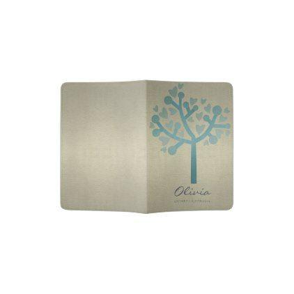 #stylish - #PALE GOLD BLUE  LEATHER HEART TREE MONOGRAM PASSPORT HOLDER