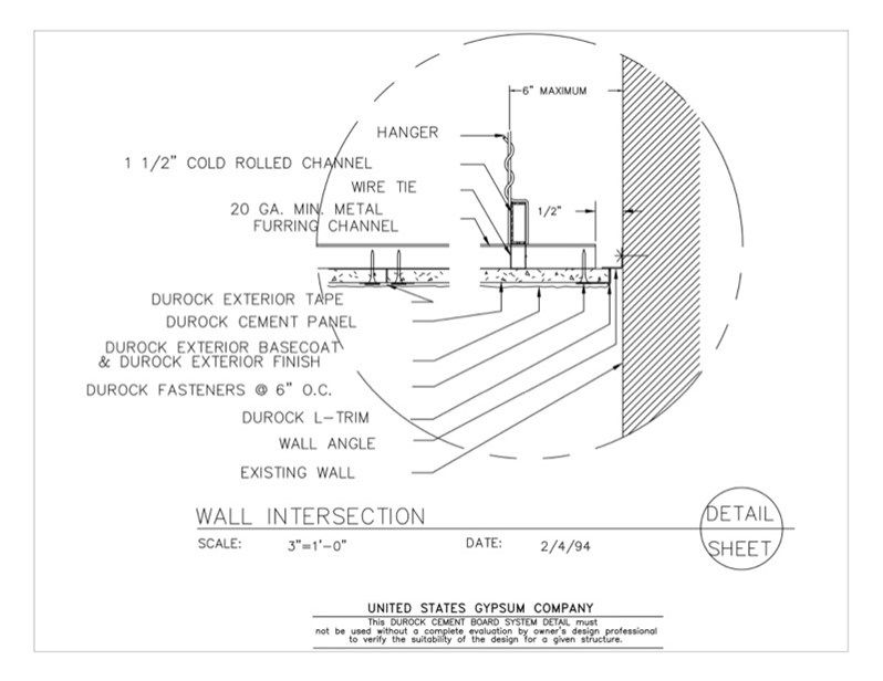 Usg Design Studio 09 21 16 03 432 Durock Suspended Ceiling Detail Wall Intersection Download Details Ceiling Detail Gypsum Ceiling Detail