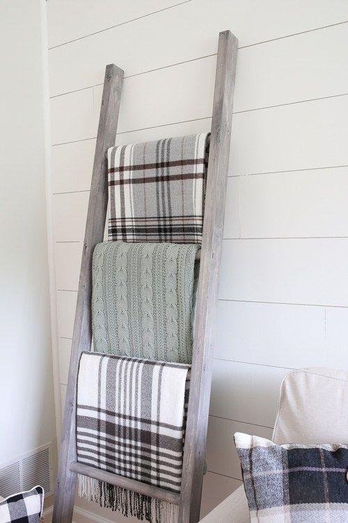 14150cd83f31 Easy DIY Blanket Ladder   Angela Marie Made   Diy blanket ladder ...