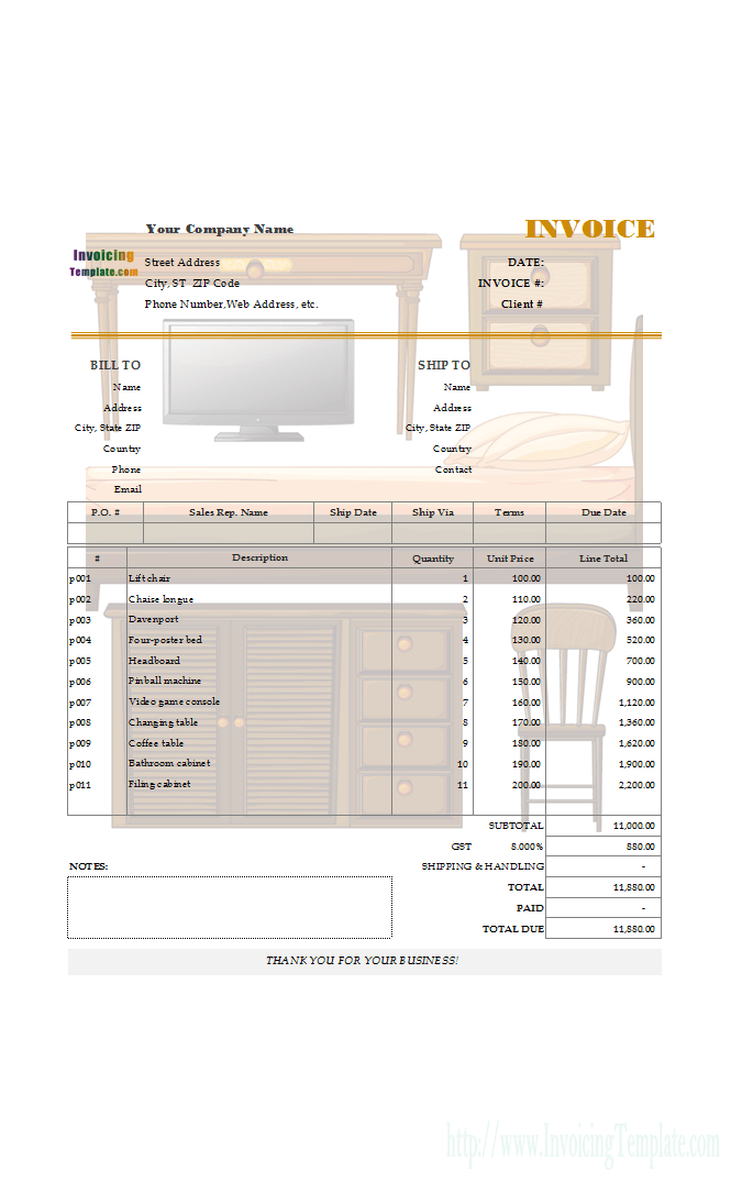 Editable Bill Sample For Furniture And Appliances Invoice Format In Excel Invoice Format Invoice Template