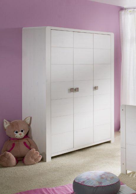LACY Kleiderschrank 3trg Kiefer massiv/weiß massiv - perfekt für ...