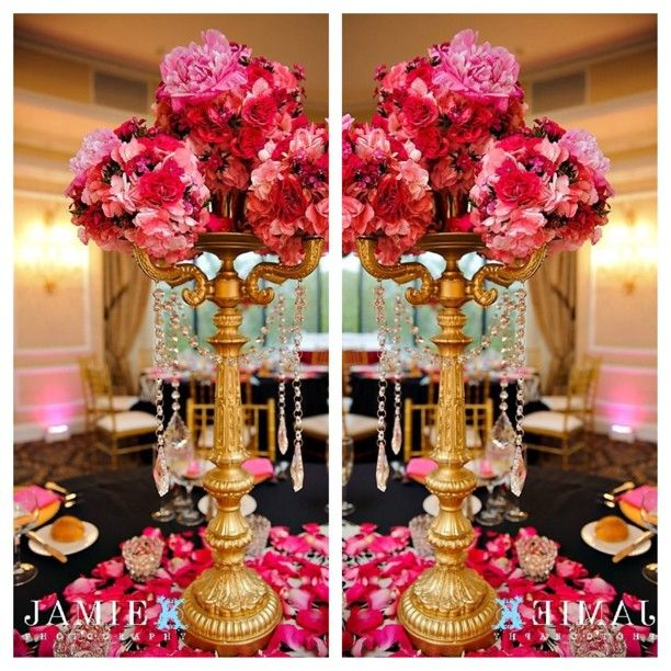 Pink and gold wedding decor tall centerpiece with hanging