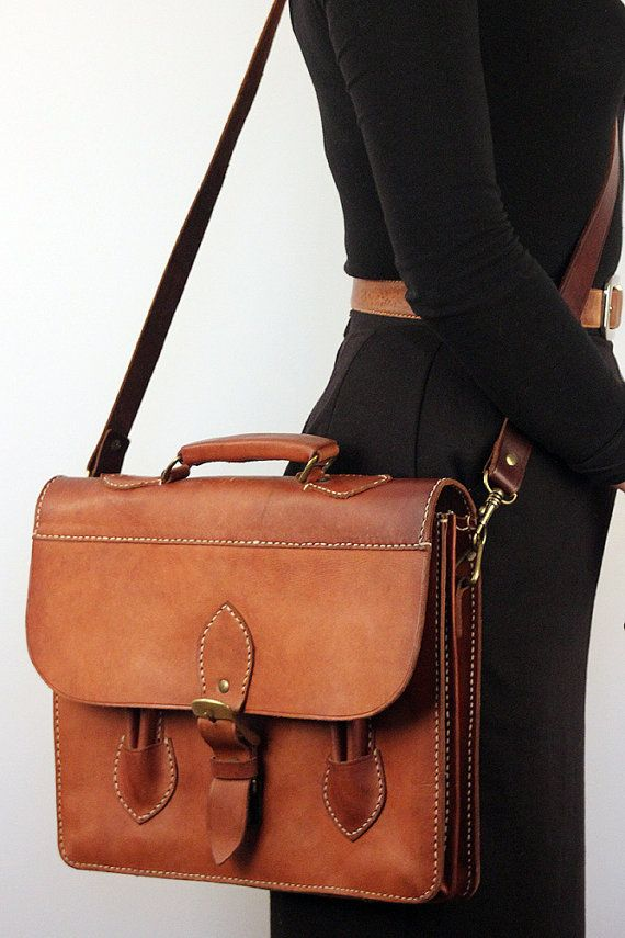 Hand Made Dutch Leather Briefcase Brass Buckle Bag Vintage Etsy Leather Leather Satchel Buckle Bags