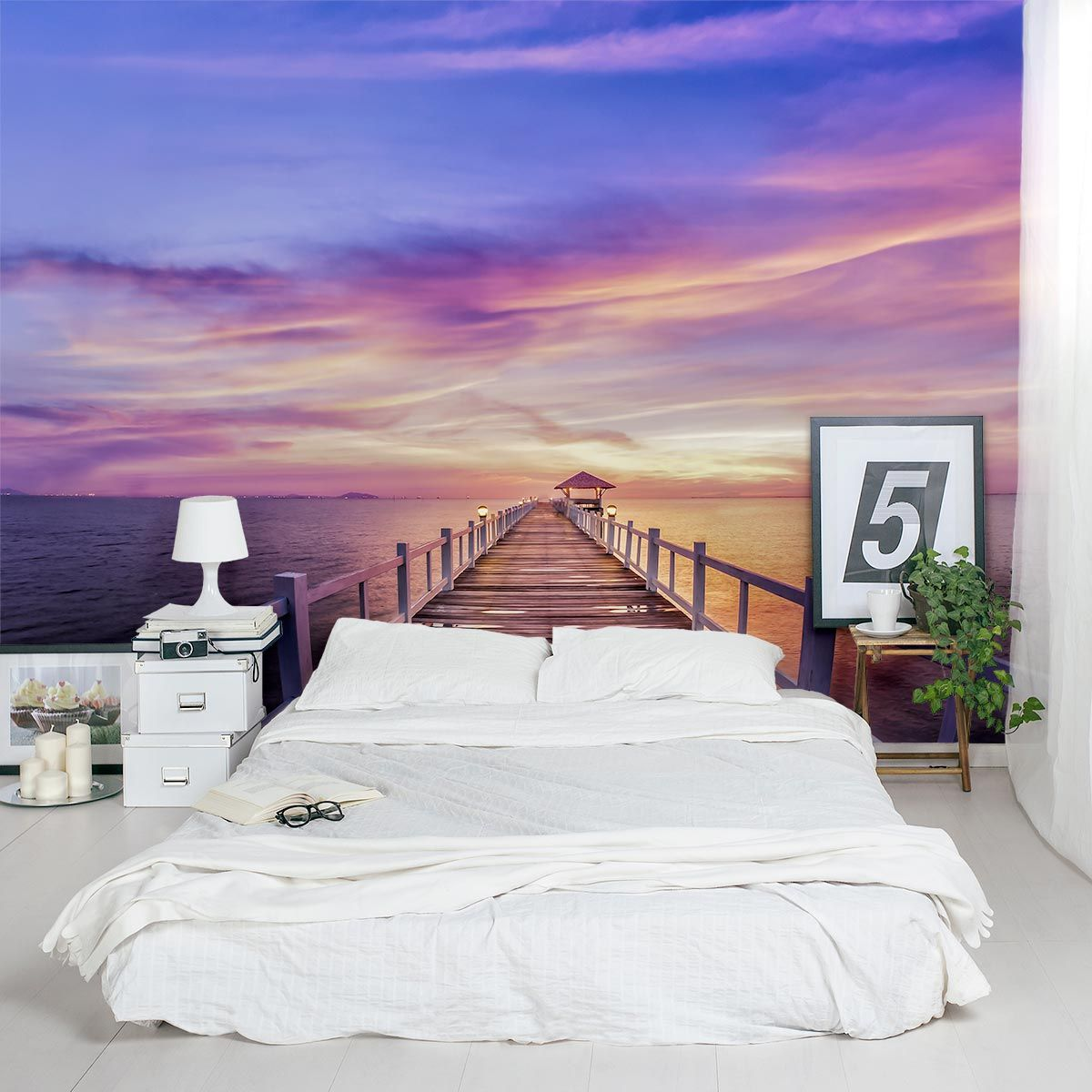 Marvelous Create Gorgeous Accent Walls With This Thailand Pier Sunset Wall Mural