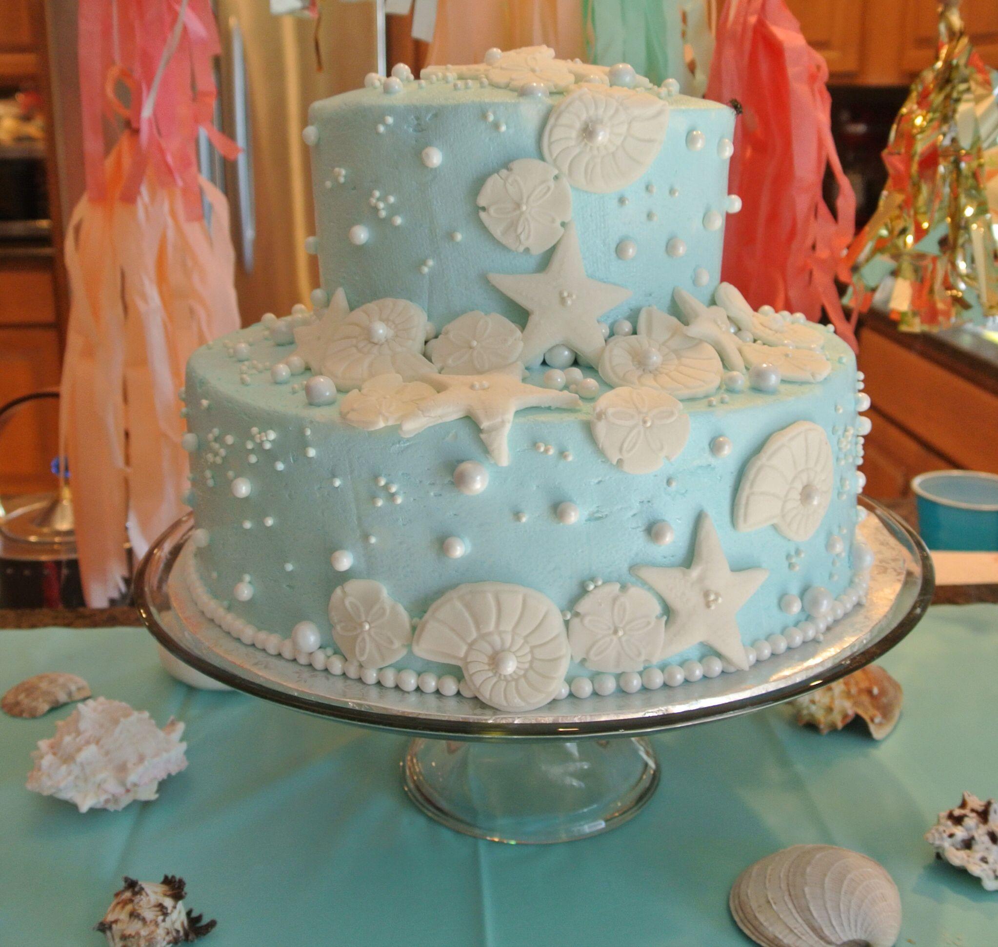 Under the sea wedding decoration ideas  Gracelynus birthday cake that I decoratedUnder the sea cake idea