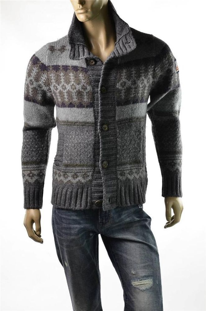True Religion Sweaters Mens Fair Isle Alpaca Wool Cardigan Sweater ...